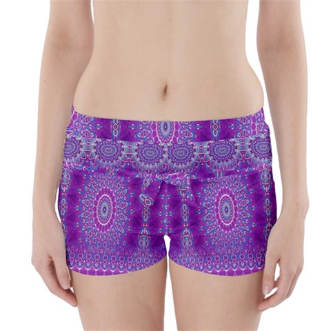 India Ornaments Mandala Pillar Blue Violet Boyleg Bikini Wrap Bottoms