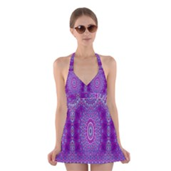 India Ornaments Mandala Pillar Blue Violet Halter Swimsuit Dress