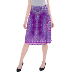 India Ornaments Mandala Pillar Blue Violet Midi Beach Skirt