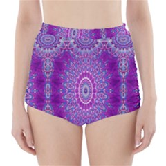 India Ornaments Mandala Pillar Blue Violet High Waisted Bikini Bottoms