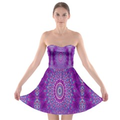 India Ornaments Mandala Pillar Blue Violet Strapless Bra Top Dress