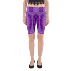 India Ornaments Mandala Pillar Blue Violet Yoga Cropped Leggings