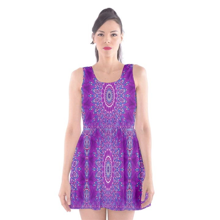 India Ornaments Mandala Pillar Blue Violet Scoop Neck Skater Dress
