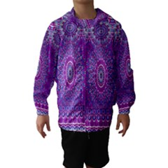 India Ornaments Mandala Pillar Blue Violet Hooded Wind Breaker (Kids)