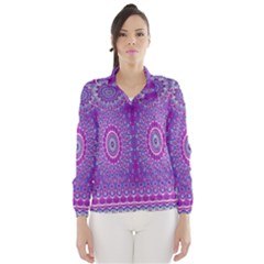 India Ornaments Mandala Pillar Blue Violet Wind Breaker (Women)