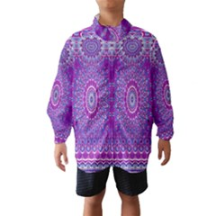 India Ornaments Mandala Pillar Blue Violet Wind Breaker (kids)