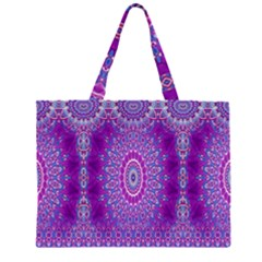 India Ornaments Mandala Pillar Blue Violet Large Tote Bag
