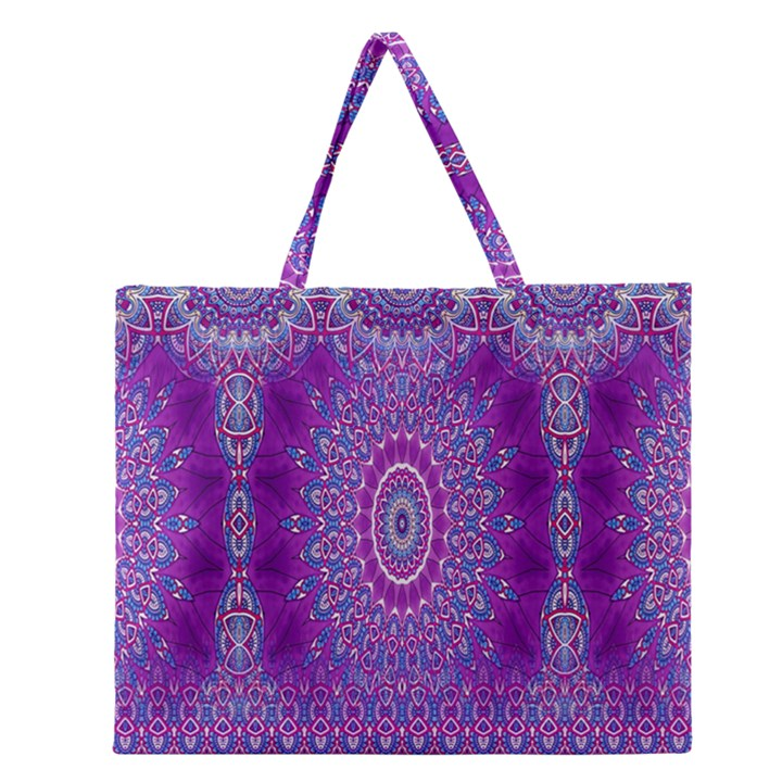 India Ornaments Mandala Pillar Blue Violet Zipper Large Tote Bag