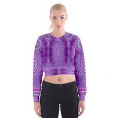 India Ornaments Mandala Pillar Blue Violet Women s Cropped Sweatshirt