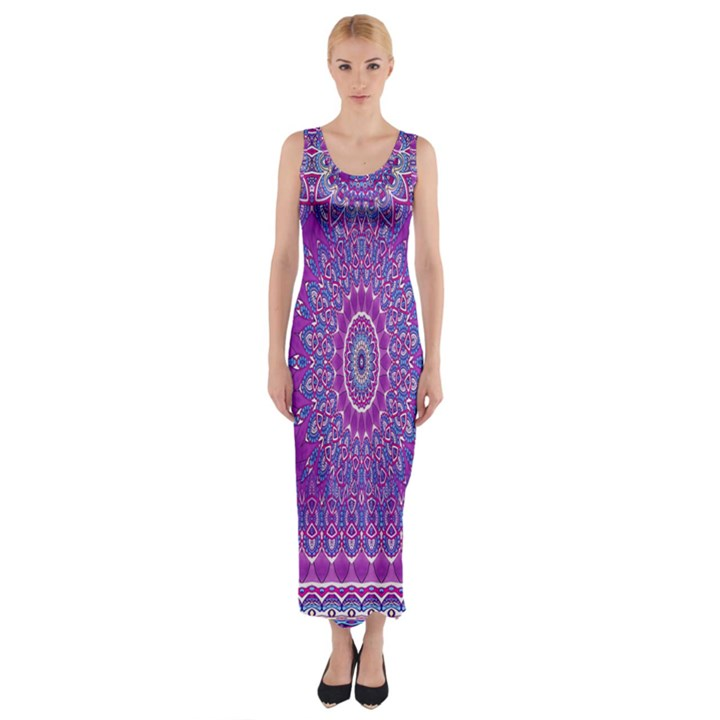 India Ornaments Mandala Pillar Blue Violet Fitted Maxi Dress