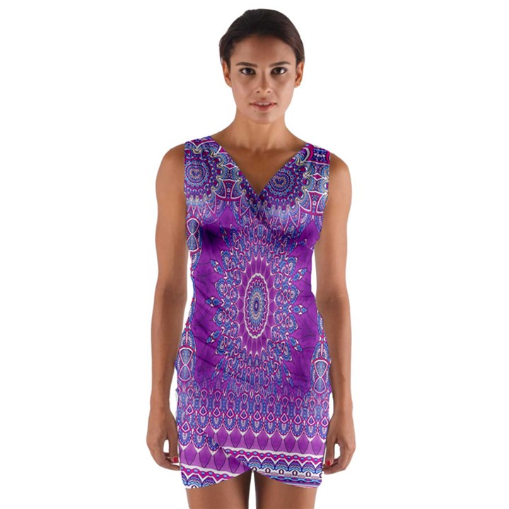 India Ornaments Mandala Pillar Blue Violet Wrap Front Bodycon Dress