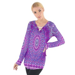 India Ornaments Mandala Pillar Blue Violet Women s Tie Up Tee