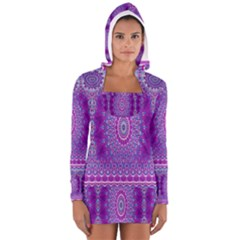 India Ornaments Mandala Pillar Blue Violet Women s Long Sleeve Hooded T Shirt
