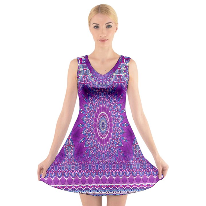India Ornaments Mandala Pillar Blue Violet V-Neck Sleeveless Skater Dress