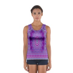 India Ornaments Mandala Pillar Blue Violet Women s Sport Tank Top