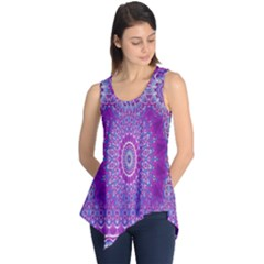 India Ornaments Mandala Pillar Blue Violet Sleeveless Tunic