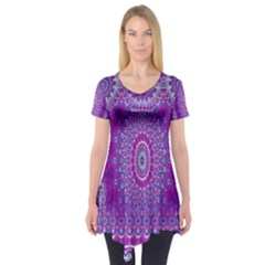 India Ornaments Mandala Pillar Blue Violet Short Sleeve Tunic