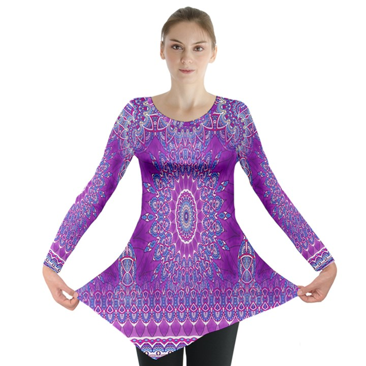 India Ornaments Mandala Pillar Blue Violet Long Sleeve Tunic