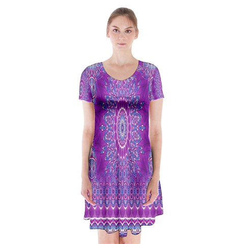 India Ornaments Mandala Pillar Blue Violet Short Sleeve V-neck Flare Dress