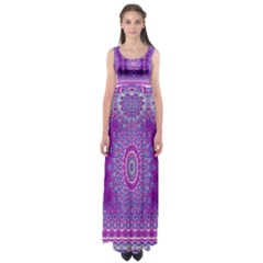 India Ornaments Mandala Pillar Blue Violet Empire Waist Maxi Dress