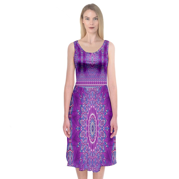 India Ornaments Mandala Pillar Blue Violet Midi Sleeveless Dress