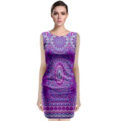 India Ornaments Mandala Pillar Blue Violet Classic Sleeveless Midi Dress