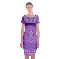 India Ornaments Mandala Pillar Blue Violet Classic Short Sleeve Midi Dress