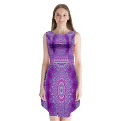 India Ornaments Mandala Pillar Blue Violet Sleeveless Chiffon Dress