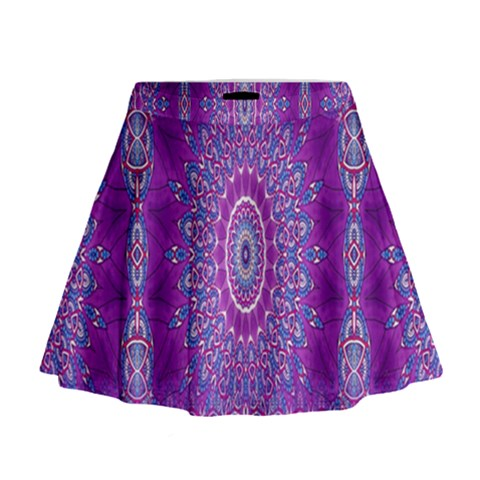 India Ornaments Mandala Pillar Blue Violet Mini Flare Skirt