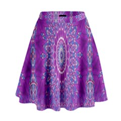 India Ornaments Mandala Pillar Blue Violet High Waist Skirt