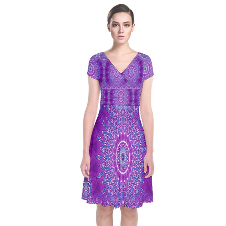 India Ornaments Mandala Pillar Blue Violet Short Sleeve Front Wrap Dress