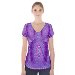 India Ornaments Mandala Pillar Blue Violet Short Sleeve Front Detail Top