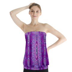 India Ornaments Mandala Pillar Blue Violet Strapless Top
