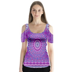 India Ornaments Mandala Pillar Blue Violet Butterfly Sleeve Cutout Tee