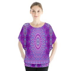 India Ornaments Mandala Pillar Blue Violet Blouse