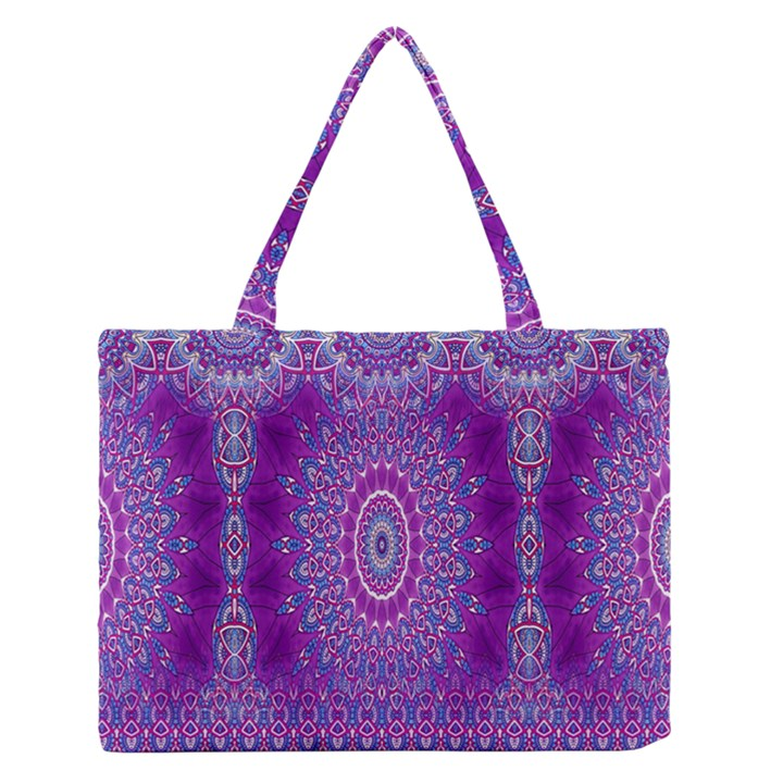 India Ornaments Mandala Pillar Blue Violet Medium Zipper Tote Bag