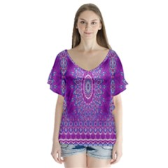 India Ornaments Mandala Pillar Blue Violet Flutter Sleeve Top