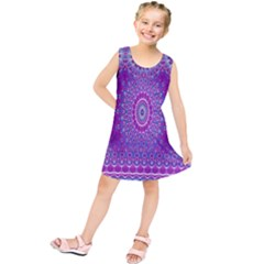 India Ornaments Mandala Pillar Blue Violet Kids  Tunic Dress