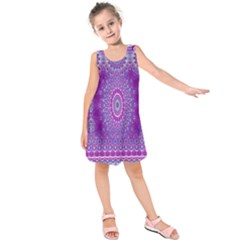 India Ornaments Mandala Pillar Blue Violet Kids  Sleeveless Dress