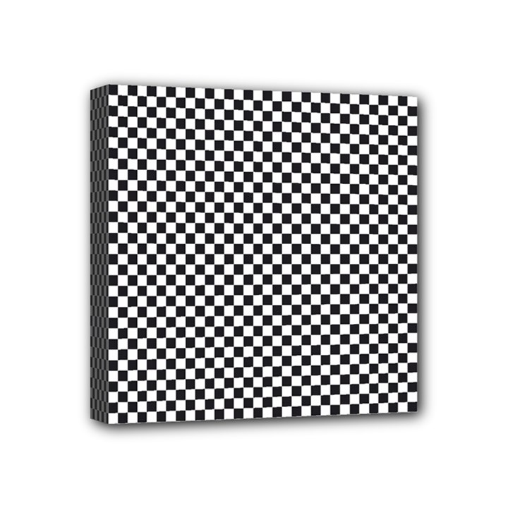 Sports Racing Chess Squares Black White Mini Canvas 4  x 4