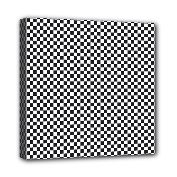 Sports Racing Chess Squares Black White Mini Canvas 8  x 8