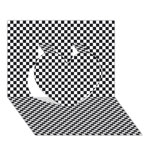 Sports Racing Chess Squares Black White Heart 3D Greeting Card (7x5)
