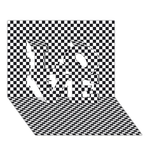 Sports Racing Chess Squares Black White LOVE 3D Greeting Card (7x5)