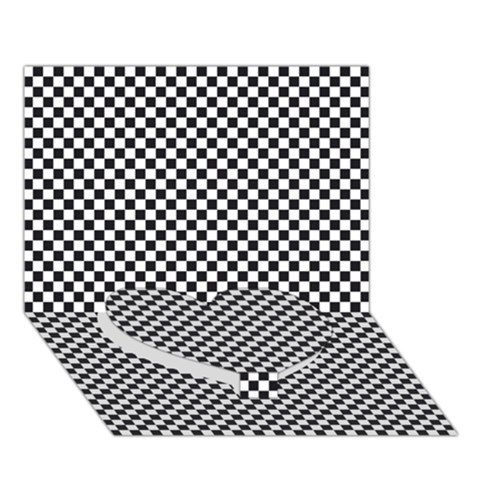 Sports Racing Chess Squares Black White Heart Bottom 3D Greeting Card (7x5)