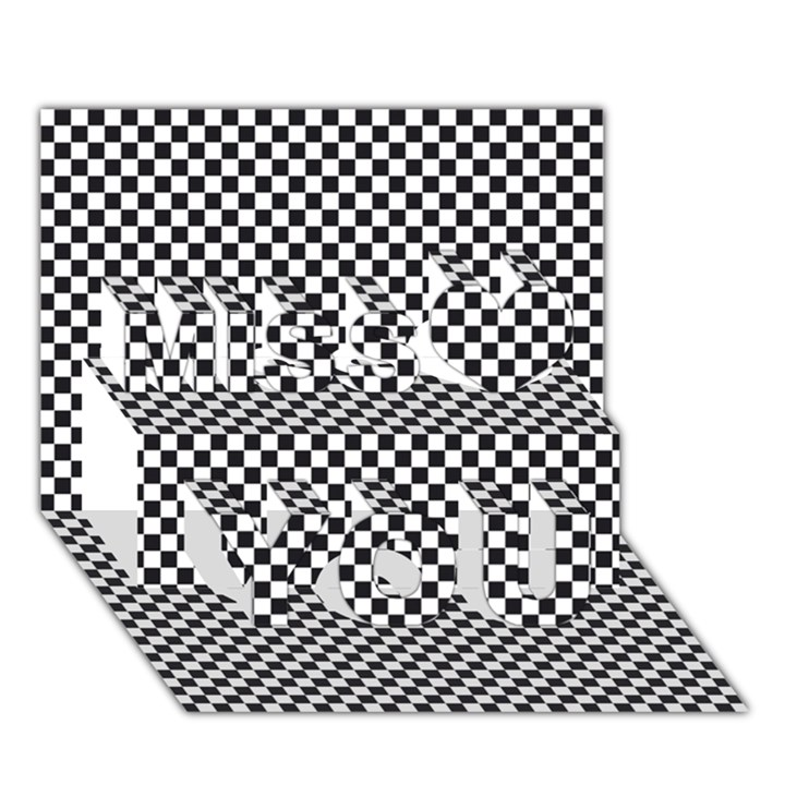 Sports Racing Chess Squares Black White Miss You 3D Greeting Card (7x5)