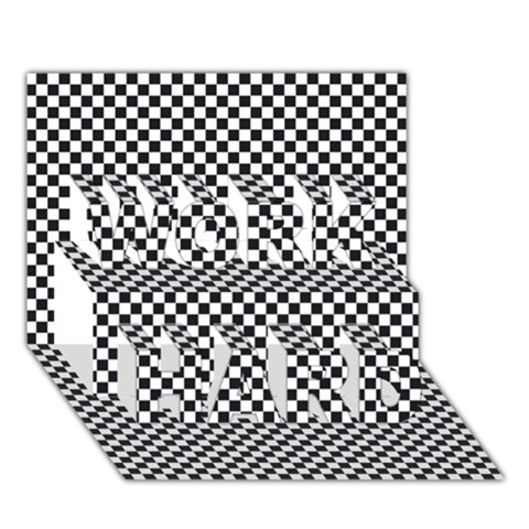 Sports Racing Chess Squares Black White WORK HARD 3D Greeting Card (7x5)