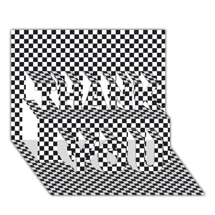Sports Racing Chess Squares Black White THANK YOU 3D Greeting Card (7x5)