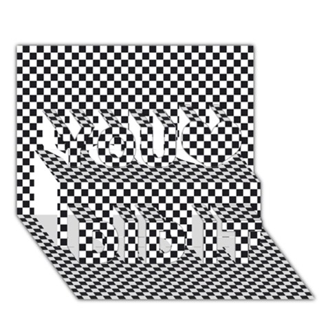 Sports Racing Chess Squares Black White You Did It 3D Greeting Card (7x5)
