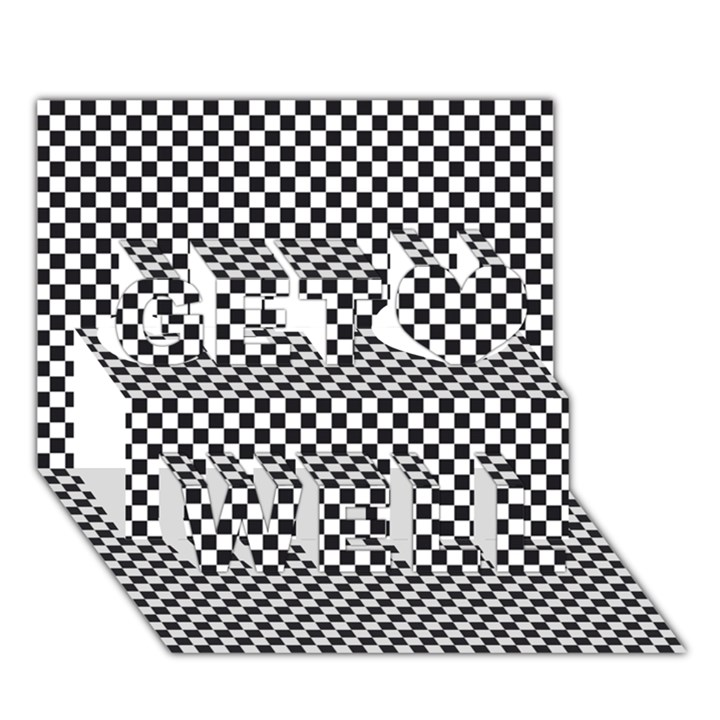 Sports Racing Chess Squares Black White Get Well 3D Greeting Card (7x5)