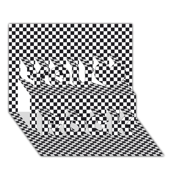 Sports Racing Chess Squares Black White You Rock 3D Greeting Card (7x5)